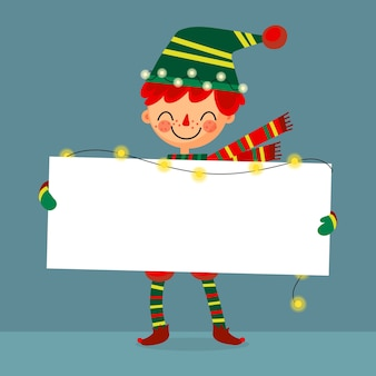 Duende de navidad sosteniendo pancarta en blanco
