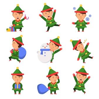 Duende navideño. ayudantes de santa enanos en acción plantean divertidos personajes celebración personas niños