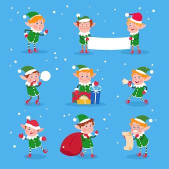 Duende navideño. baby elfos ayudantes de santa claus. divertidos personajes enanos de invierno