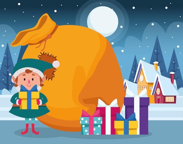 Duende navideño con cajas de regalo y bolsa grande durante la noche de invierno, colorido, ilustración