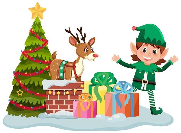 Duende navideño con muchas cajas presentes y árbol de navidad