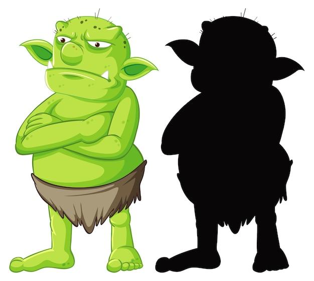 Duende o troll en color y silueta en personaje de dibujos animados en blanco