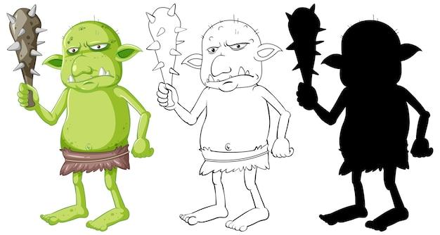 Duende o troll con herramienta de caza en color y contorno y silueta en personaje de dibujos animados sobre fondo blanco.