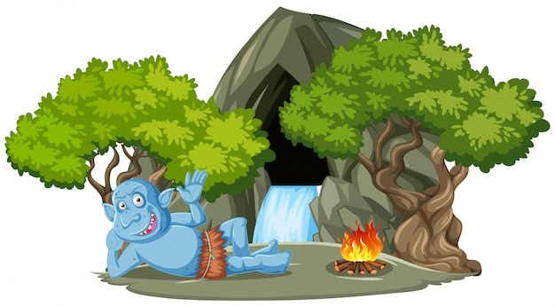 Duende o troll tumbado delante de la cueva de piedra con estilo de dibujos animados de árboles aislado sobre fondo blanco.