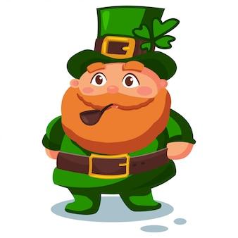 Duende con sombrero verde con trébol de cuatro hojas y una pipa para fumar.