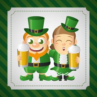 Duendes irlandeses felices con cervezas, día de san patricio