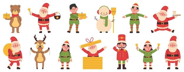 Duendes de navidad, muñeco de nieve y renos mascotas de ayudantes de santa claus. conjunto de ilustración de vector de equipo divertido de vacaciones de invierno. personajes de santa claus noel helpers con cajas de regalo, campana y guirnalda