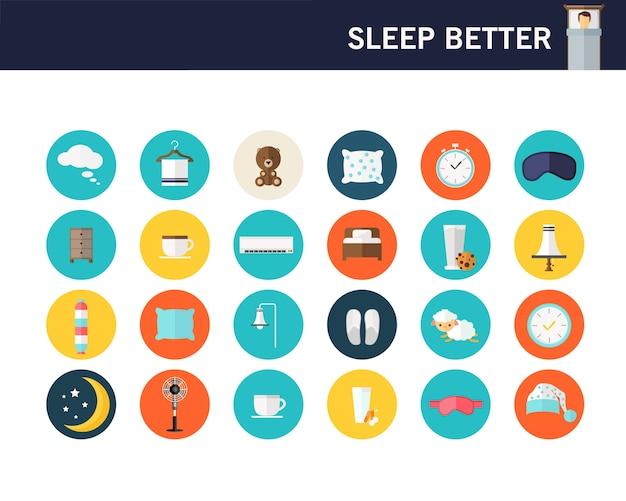 Duerme mejor concepto iconos planos.