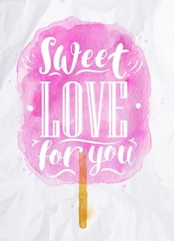 Dulce de algodón dulce amor