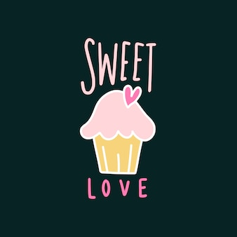 Dulce amor lindo vector de cupcake