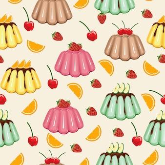 Dulce bocadillo de patrones sin fisuras gelatina de gelatina de frutas wallpaper