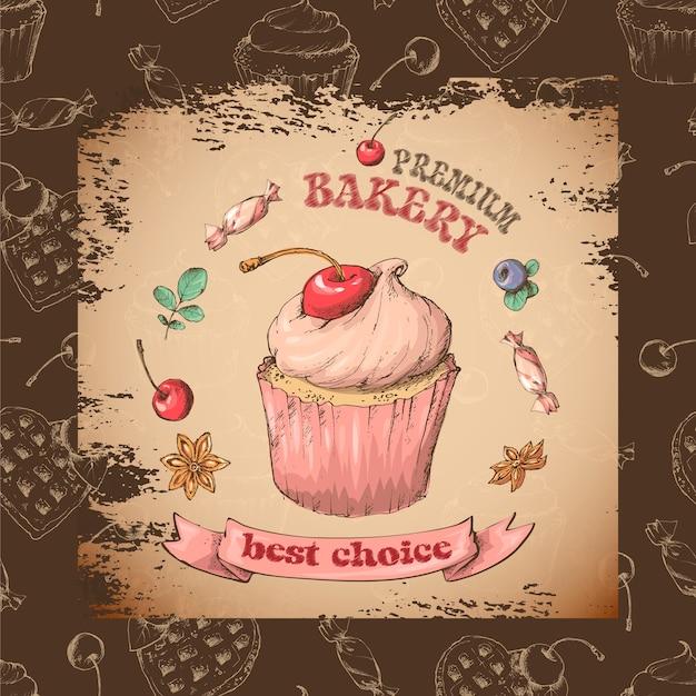 Dulce, capcake, con, cream. establecer desde tarjetas vectoriales