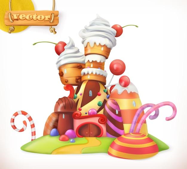 Dulce castillo. ilustración de la casa de pan de jengibre