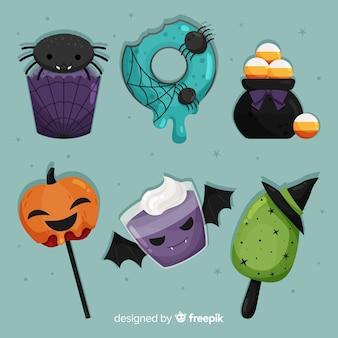 Dulce colección de deliciosos dulces de halloween