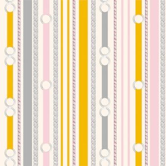 Dulce color pastel de patrón sin costuras cinturón de metal plateado franja vertical humor vintage