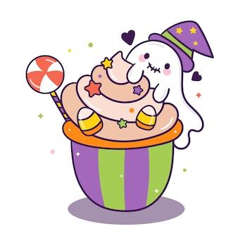 Dulce de dibujos animados lindo pastel de halloween con fantasmas