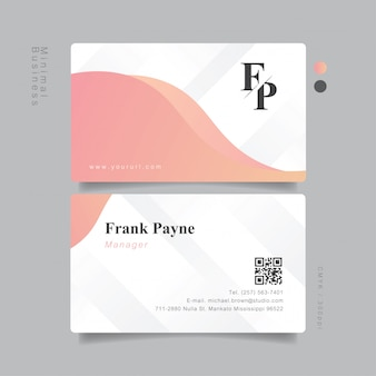 Dulce elegante tarjeta de visita minimal pastel