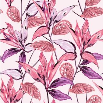 Dulce estado de ánimo de motivos botánicos tropicales dispersos patrón aleatorio