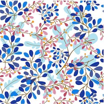 Dulce flor azul y púrpura y dejar en patrones sin fisuras