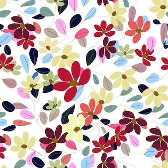 Dulce flor colorida y deja en patrones sin fisuras