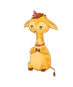 Dulce jirafa joven personaje en una fiesta. ilustración de personaje de dibujos animados de un animal de safari aislado sobre fondo blanco.