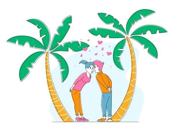 Dulce joven pareja besándose sobre fondo de naturaleza tropical con palmeras y corazones alrededor