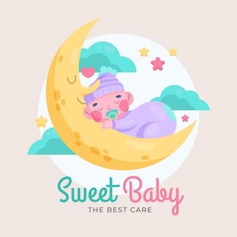 Dulce logo de bebé detallado