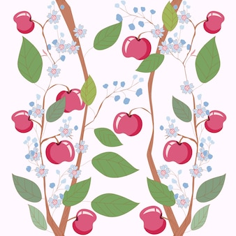 Dulce manzana rama floral de patrones sin fisuras