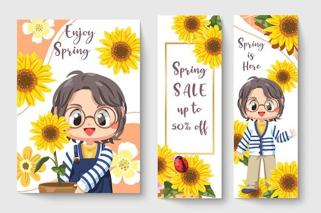 Dulce niña con girasol en la ilustración de tema de primavera para obras de arte de moda para niños
