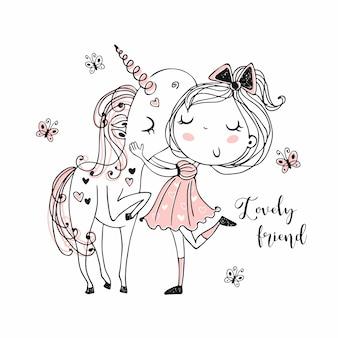 Dulce niña con un unicornio mágico.