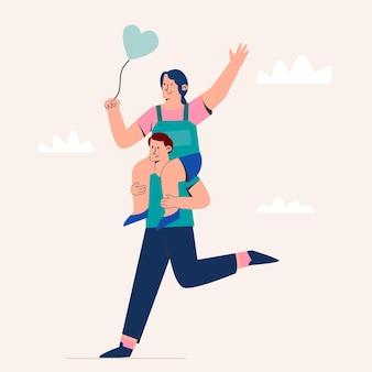 Dulce pareja corriendo en el día de san valentín