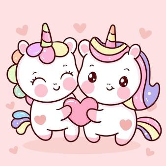 Dulce pareja de dibujos animados lindo unicornio con corazones para el día de san valentín