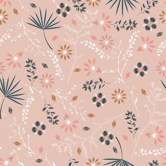 Dulce pastel bordado floral de patrones sin fisuras