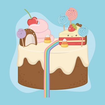 Dulce pastel de crema de chocolate con caracteres kawaii.