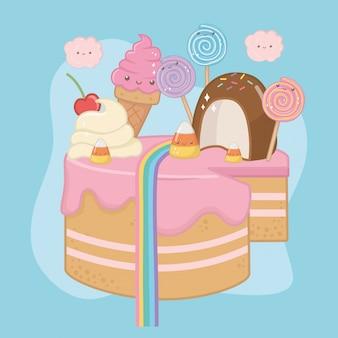 Dulce pastel de crema de fresa con caracteres kawaii.