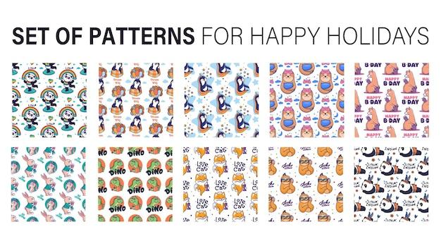 El dulce patrón sin costuras. animales caricaturizados.