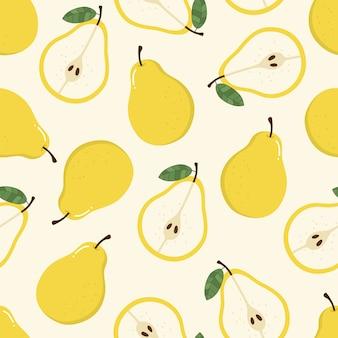 Dulce pera amarilla de patrones sin fisuras.