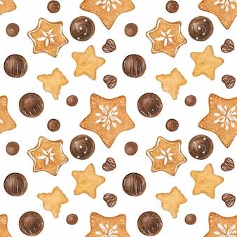 Dulce romántica acuarela de patrones sin fisuras con dulces de chocolate