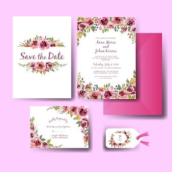 Dulce rosa púrpura acuarela floral conjunto de plantillas invitación de boda