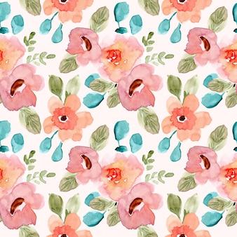 Dulce rosa verde floral acuarela de patrones sin fisuras