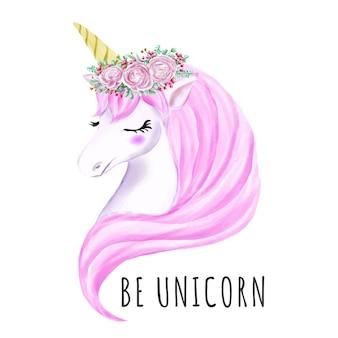 Dulce unicornio con corona de flores acuarela.