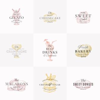 Dulces y bebidas de confitería símbolos de signos abstractos o plantilla de logotipo