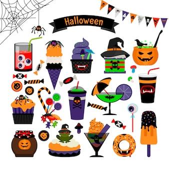Dulces de brujería de halloween vector iconos planos
