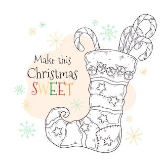 Dulces en un calcetín de navidad.