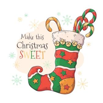 Dulces en calcetín navideño