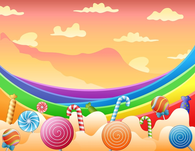 Dulces caramelos y arcoiris en el cielo.