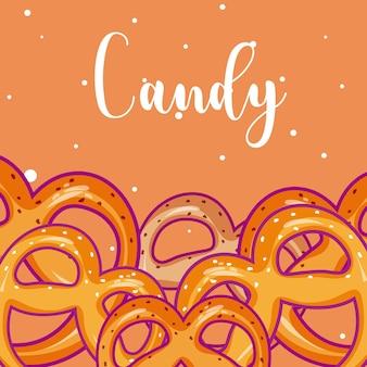 Dulces caramelos de panadería dibujos animados