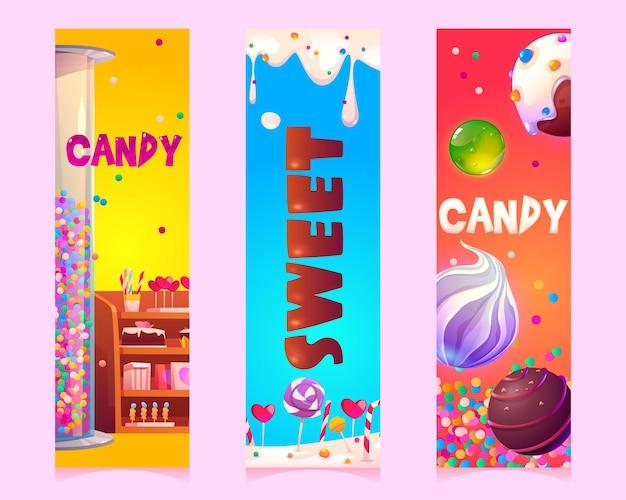 Dulces y caramelos de dibujos animados pancartas verticales o marcadores con productos de confitería o pastelería s ...