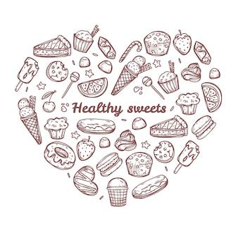 Dulces y caramelos de doodle en forma de corazón. ilustración dibujada a mano