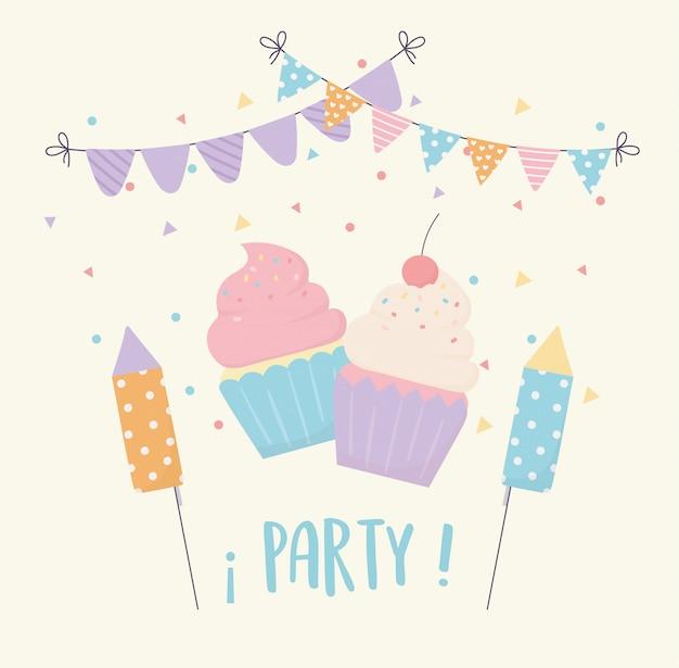 Dulces cupcakes banderines fuegos artificiales celebración fiesta decoración